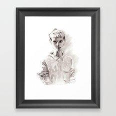 Girl Short Hair and  Shirt Framed Art Print