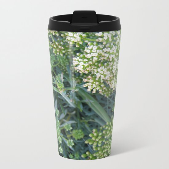 green wild flowers Metal Travel Mug