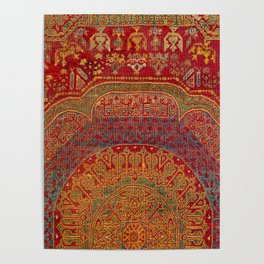 Bohemian Medallion VI // 15th Century Old Distressed Red Green Blue Coloful Ornate Rug Pattern Poster