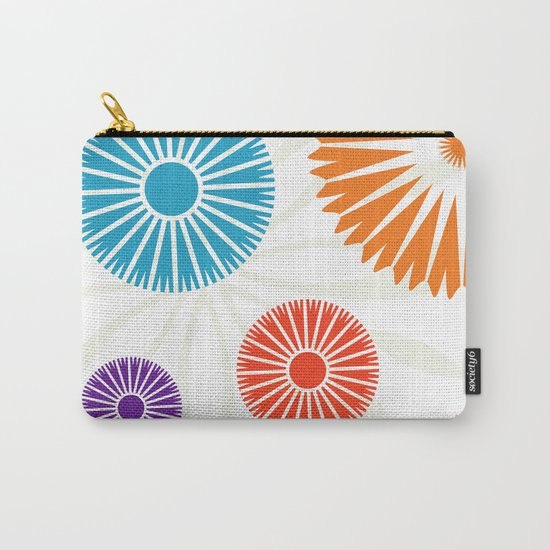 Spring Retro Flowers Carry-All Pouch