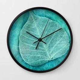 Turquoise Leaf 2 Wall Clock