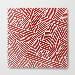 Abstract Navy Red & White Lines and Triangles Pattern- Mix and Match with Metal Print