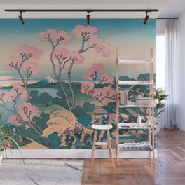 Spring Picnic under Cherry Tree Flowers, with Mount Fuji background Wall Mural