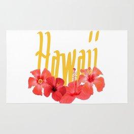 Hawaii Text With Aloha Hibiscus Garland Rug