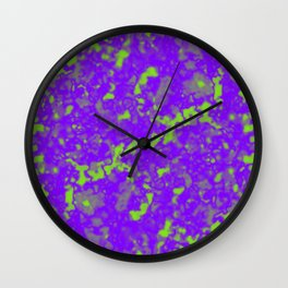 A interweaving cluster of violet bodies on a green background. Wall Clock