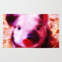 piglet Area & Throw Rugs featuring very pink Piglet by MehrFarbeimLeben