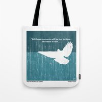 cyberpunk Tote Bags featuring No011 My Blade Runner minimal movie poster by Chungkong