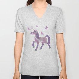 Lilac Unicorn .. fantasy art Unisex V-Neck