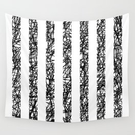 Scribble Bars - Abstract, stripy, stripey, black ink scribbles pattern, black and white Wall Tapestry