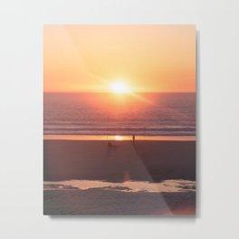 Sunset Fisherman Metal Print