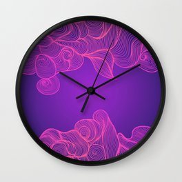 Heat Wave II colorful illustrated abstract waves Wall Clock