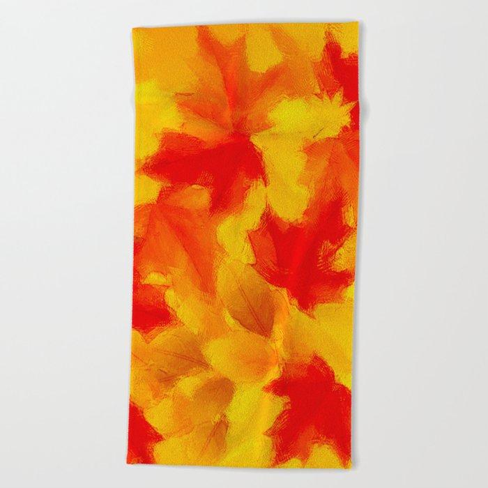 Autumn leaf abstract Beach Towel