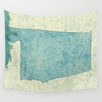 alabama Wall Tapestries featuring Alabama State Map Blue Vintage by City Art Posters