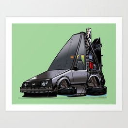 Back To The Future Part 2 - DeLorean Time Machine - Color Art Print