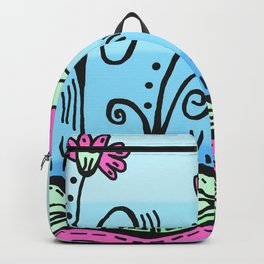 Three Spring Flowers - Blue Backpack