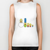 simpsons Biker Tanks featuring the simpsons family by heydjango