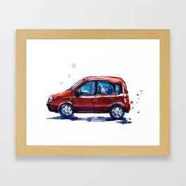 Sketch of a red car in watercolor Framed Art Print