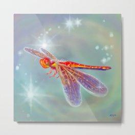 Glowing Dragonfly Metal Print