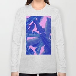 tropical banana leaves pattern,pink,blue Long Sleeve T-shirt