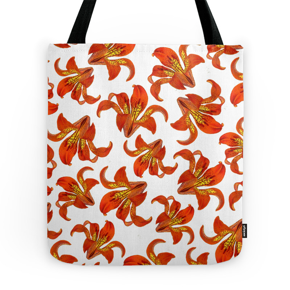 Red Lilies Tote Purse by flaxandfox (TBG7278044) photo