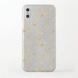 Dice Outline in Gold + Brown Clear iPhone Case