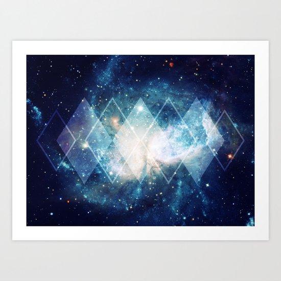 Shining Nebula - Blue Art Print