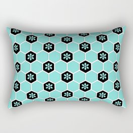 Blue Floral Honeycomb Rectangular Pillow