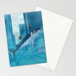 Whales and cities Stationery Cards