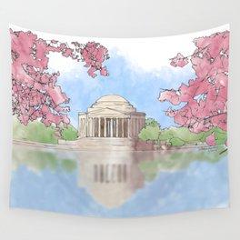 Cherry Blossom - Jefferson Memorial Wall Tapestry