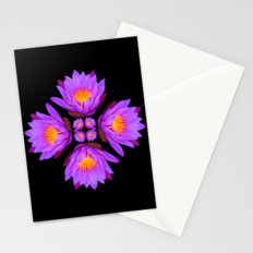 Purple Lily Flower - On Black Stationery Cards