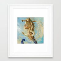 sea horse Framed Art Prints featuring Sea horse by Nataliya Derevyanko