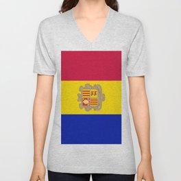 Flag Of Andorra Unisex V-Neck
