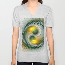 Like Yin and Yang, Abstract Fractal Art Unisex V-Neck