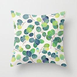 Watercolor eucalyptus white Throw Pillow