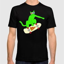 """Psychedelic Skateboarding Pizza Cat #3"", by Brock Springstead T-shirt"