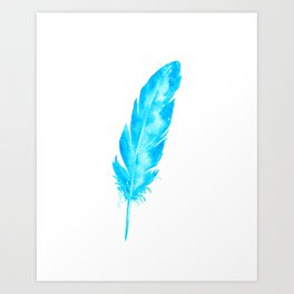 Watercolor abstract turquoise feather Art Print