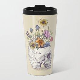 Half Skull Flowers Travel Mug