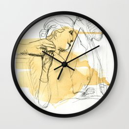 Sir reading to a girl sculpture sketch Wall Clock
