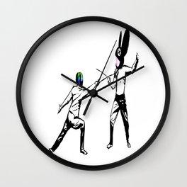 music battle fencing Wall Clock