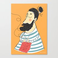knitting Canvas Prints featuring knitting by Milla Scramignon