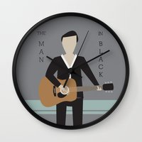 johnny cash Wall Clocks featuring Johnny Cash by Sarah Duet