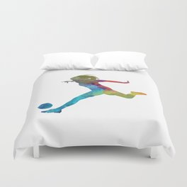 Woman soccer player 01 in watercolor Duvet Cover