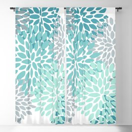 Floral Pattern, Aqua, Teal, Turquoise and Gray Blackout Curtain