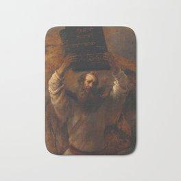 Rembrandt - Moses with the Ten Commandments Bath Mat
