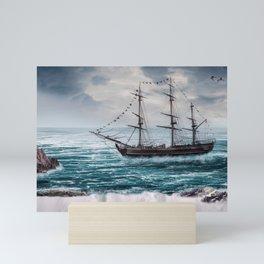 Impressive Spectacular Dreamland Sailship Full Moon Seagull Waterfall HD Mini Art Print