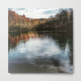 Oil Paint Styled Lake View Metal Print