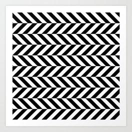 Black and White Op Art Chevron Art Print