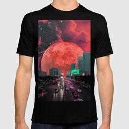 City Night Neon Vaporwave Landscape  T-shirt