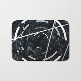 Fractured - Black and white abstract Bath Mat
