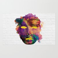 hindu Area & Throw Rugs featuring Holi Mask by Sitchko Igor